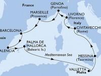 10 Noches por Italia, Francia, España, Malta a bordo del MSC Sinfonia