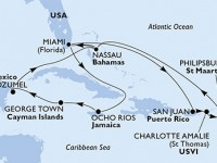 14 Noches por Estados Unidos, Puerto Rico, Islas Vírgenes (Estadounidenses), St. Maarten, Bahamas, Jamaica, Gran Caimán, México a bordo del MSC Seaside