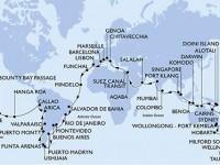 116 Noches por Italia, Francia, España, Portugal, Cabo Verde, Brasil, Argentina, Uruguay, Chile, Perú, Islas Pitcairn, Polinesia Francesa, Islas Cook, Nueva Zelanda, Australia, Nueva Caledonia a bordo del MSC Magnifica