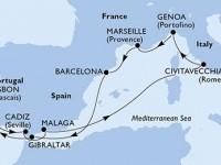 10 Noches por Francia, España, Gibraltar, Portugal, Italia a bordo del MSC Magnifica