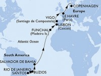 18 Noches por Brasil, Portugal, España, Francia, Dinamarca a bordo del MSC Poesia