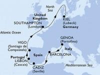 11 Noches por Italia, Francia, España, Portugal, Francia, Alemania a bordo del MSC Meraviglia