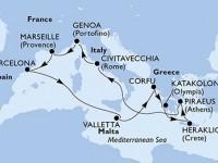 11 Noches por Francia, España, Malta, Grecia, Italia a bordo del MSC Poesia