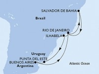 12 Noches por Brasil, Uruguay, Argentina a bordo del MSC Fantasia