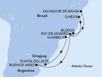 14 Noches por Brasil, Argentina, Uruguay a bordo del MSC Fantasia