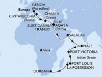 29 Noches por Italia, Grecia, Egipto, Israel, Jordania, Omán, Maldivas, Seychelles, Mauricio, Reunión, Sudáfrica a bordo del MSC Orchestra