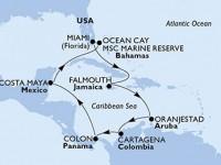 11 Noches por Estados Unidos, Jamaica, Aruba, Colombia, Panamá, México, Bahamas a bordo del MSC Divina
