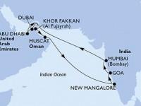 14 Noches por Emiratos Árabes Unidos, Omán, India a bordo del MSC Lirica
