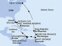12 Noches por Estados Unidos, Antillas Holandesas, Martinica, Granada, Aruba, Bahamas a bordo del MSC Meraviglia