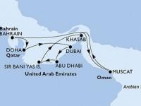 11 Noches por Emiratos Árabes Unidos, Omán, Bahréin, Qatar a bordo del MSC Lirica