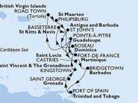 14 Noches por Martinica, Guadalupe, Islas Vírgenes (Británicas), St. Maarten, Dominica, St. Kitts, Antigua y Barbuda, Santa Lucía, Barbados, Trinidad y Tobago, Granada, San Vicente y las Granadinas a bordo del MSC Preziosa