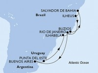 13 Noches por Argentina, Uruguay, Brasil a bordo del MSC Fantasia