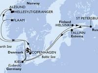 14 Noches por Alemania, Dinamarca, Finlandia, Rusia, Estonia, Noruega a bordo del MSC Meraviglia