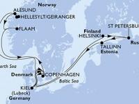 14 Noches por Alemania, Dinamarca, Noruega, Finlandia, Rusia, Estonia a bordo del MSC Meraviglia