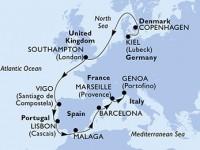 11 Noches por Alemania, Dinamarca, Francia, España, Portugal, Francia, Italia a bordo del MSC Splendida