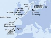 6 Noches por Alemania, Dinamarca, Francia, España, Portugal a bordo del MSC Splendida
