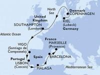 10 Noches por Alemania, Dinamarca, Francia, España, Portugal, Francia a bordo del MSC Splendida