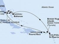10 Noches por Estados Unidos, Bahamas, Puerto Rico, Islas Vírgenes (Británicas), Antillas Holandesas a bordo del MSC Divina