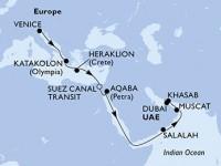 16 Noches por Italia, Grecia, Egipto, Jordania, Omán, Emiratos Árabes Unidos a bordo del MSC Lirica