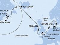 17 Noches por Alemania, Dinamarca, Francia, Islandia, Canadá, Estados Unidos a bordo del MSC Meraviglia