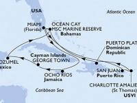 14 Noches por Estados Unidos, Jamaica, Gran Caimán, México, Bahamas, Puerto Rico, Islas Vírgenes (Estadounidenses), República Dominicana a bordo del MSC Seaside