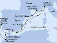 10 Noches por Francia, Italia, España, Marruecos, Portugal a bordo del MSC Virtuosa