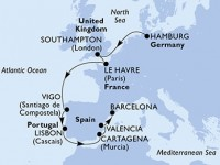 10 Noches por Alemania, Francia, Francia, España, Portugal a bordo del MSC Preziosa