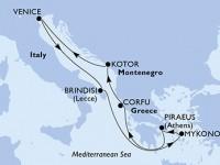7 Noches por Grecia, Montenegro, Italia a bordo del MSC Musica