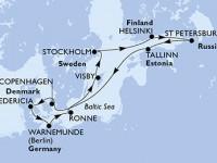 11 Noches por Dinamarca, Alemania, Suecia, Finlandia, Rusia, Estonia a bordo del MSC Poesia