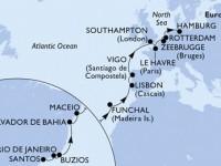 22 Noches por Brasil, Portugal, España, Francia, Francia, Bélgica, Holanda, Alemania a bordo del MSC Preziosa